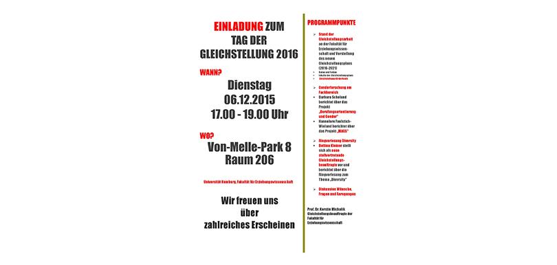 Plakat Gleichstellungstag 2016