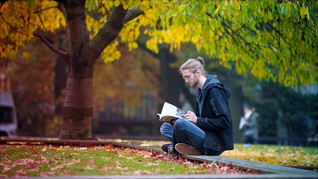 Student sitzt auf Wiese und liest.