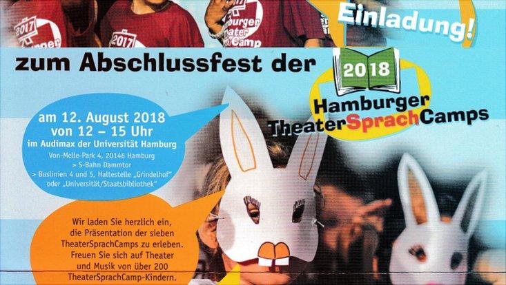 Einladung zum Abschlussfest des Hamburger TheaterSprachCamps