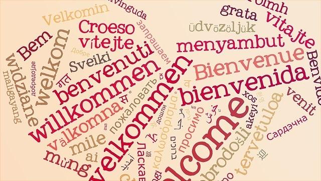 """Das Wort """"Willkommen"""" in verschiedenen Sprachen"""