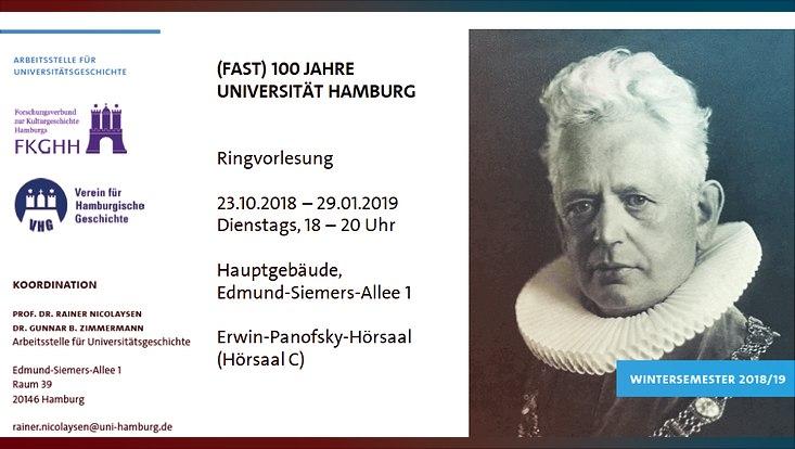"""Ringvorlesung """"(Fast) 100 Jahre Universität Hamburg"""""""