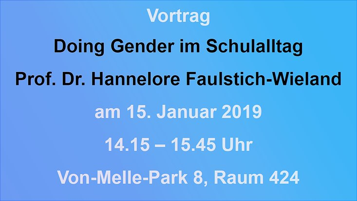 "Ankündigung Vortrag ""Doing Gender"""