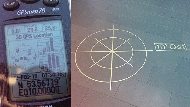 Collage aus GPS-Gerät und einem Kompass auf dem Boden.