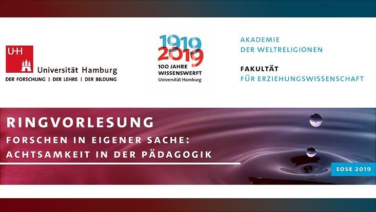Ankündigung der Ringvorlesung zum Thema Achtsamkeit in der Pädagogik, die im Sommersemester 2019 stattfindet.