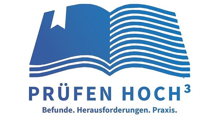 Logo mit dem Schriftzug Prüfen hoch drei. Befunde, Herausforderungen, Praxis.