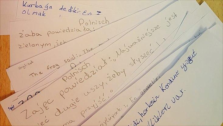Papiere mit Schift in unterschiedlichen Sprachen liegen auf einem Tisch.