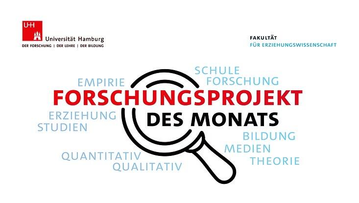 Logo des Forschungsprojekts des Monats, Schriftzug mit Lupe, erläuternde Begriffe herum angeordnet