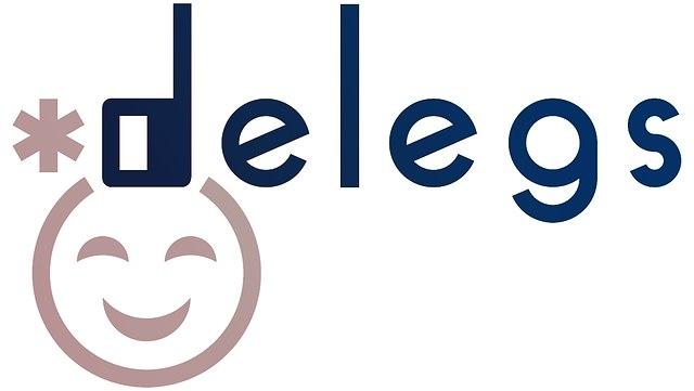 Schriftzug delegs in blau mit grauem Smiley links unten