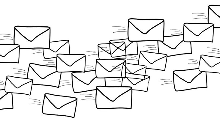 Auf dem Bild sind viele gezeichnete Briefumschläge zu sehen.