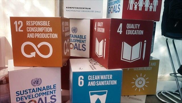 Würfel, die mit den susutainable development goals beschriftet sind