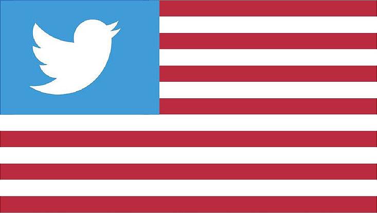 Amerikanische Flagge mit Twitterlogo