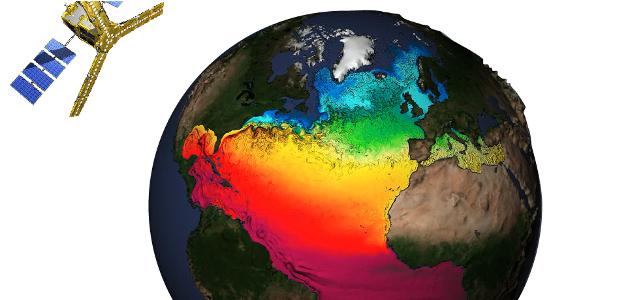 Der SMOS Satellit über einer modellierten Erde.