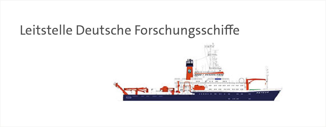 Link zur Leitstelle Deutsche Forschungsschiffe. Dargestellt ist eine Zeichnung des FS Meteor.