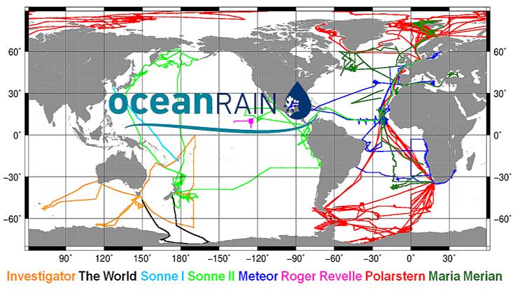 Karte mit Routen der Forschungsschiffe