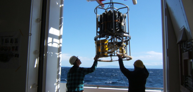 Researchers onboard of a research vessel