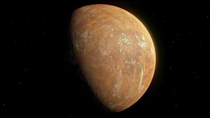 Künstlerische Darstellung des Planeten von Barnards Stern unter dem orangefarbenen Licht des Sterns.