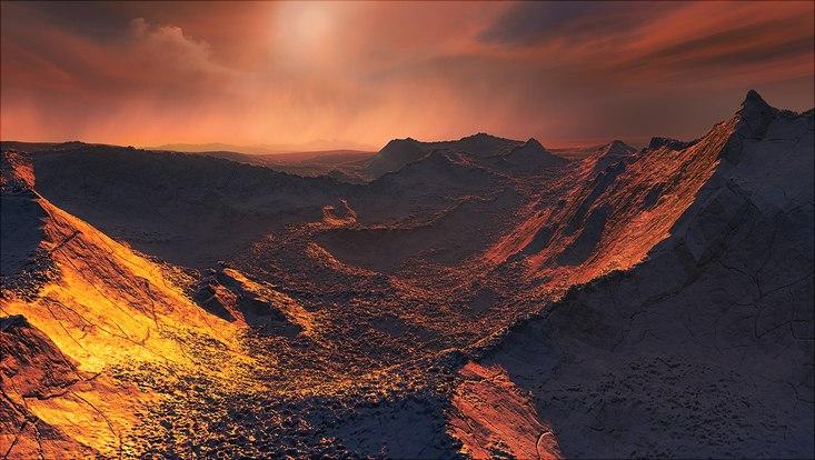 Dieses Bild zeigt den Eindruck eines Künstlers von der Oberfläche des Planeten Barnard B.