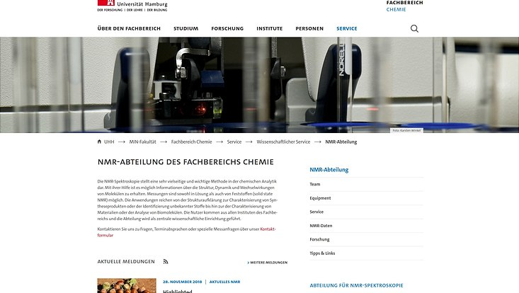 neue Startseite der NMR-Abteilung der Universität Hamburg