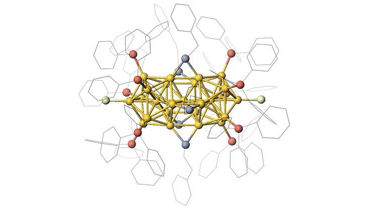 Modell der atomar-genauen Goldcluster mit 25 Goldatomen und stabilisierenden Ligandenmolekülen.