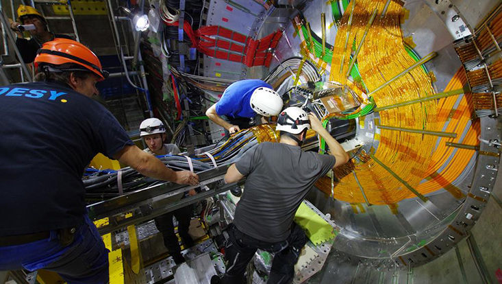 Installation of the vertex detector in the Belle II experiment.