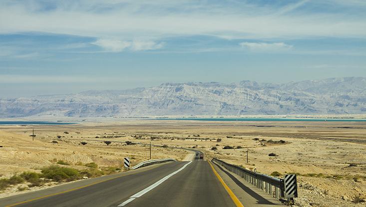 Blick von Ein Bokek nach Jordanien