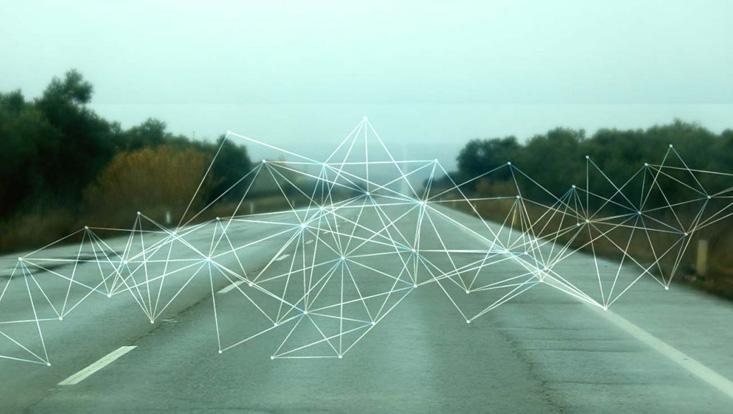 Straße mit Digitalisierung