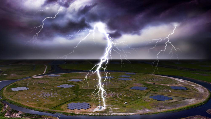 Lightning above LOFAR (montage).