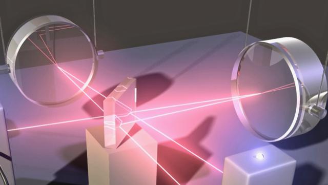 Darstellung von Laserstrahlen in einem optischen Aufbau