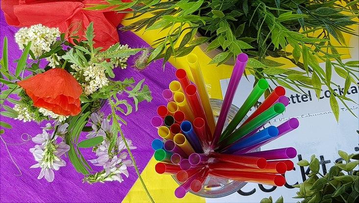 Bunte Strohhalme und Sommerblumen