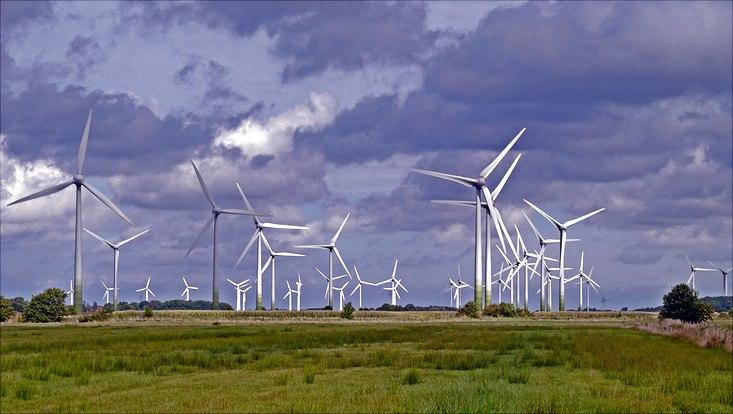Windräder in der Landschaft