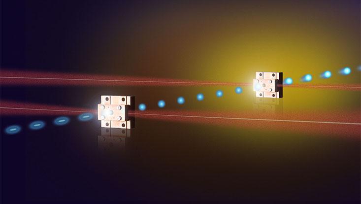 Illustration des zweistufigen Miniaturbeschleunigers
