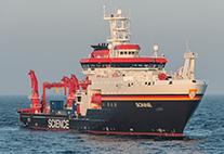 Das neue Forschungsschiff Sonne auf dem Meer
