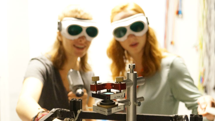 two girls working in the lab