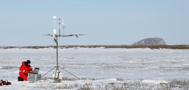 Eddy-Kovarianz-Messungen auf der Überflutungsebene, Lena-Delta, Mai 2014 / Eddy covariance measurements in the Lena delta, May 2014