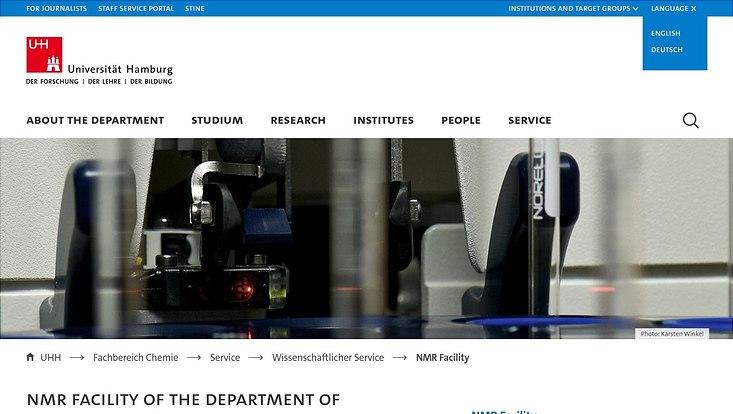 Webseite der NMR-Abteilung in englischer Sprache