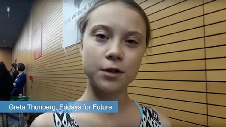 Greta thunberg in einem video statement