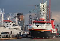 Tiefseeforschungsschiff in Hamburg vor Anker