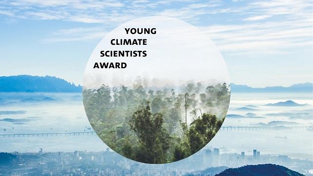 """Eine blaue Stadt. Davor ein Kreis. Im Kreis grüner Regenwald. Im Kreis steht """"Young Climate Scientist Award""""."""