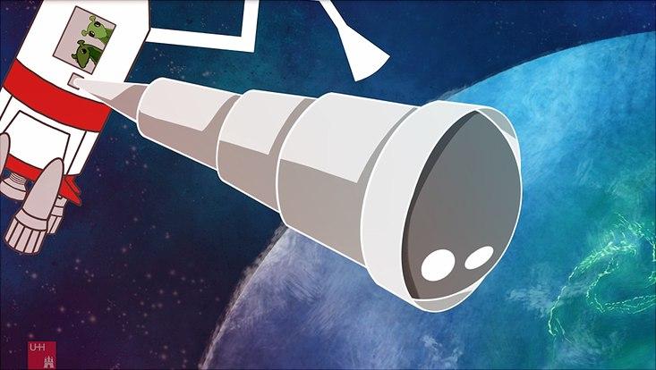 Valentina und Emil in ihrem Raumschiff auf dem Weg zum Planeten BLUE.