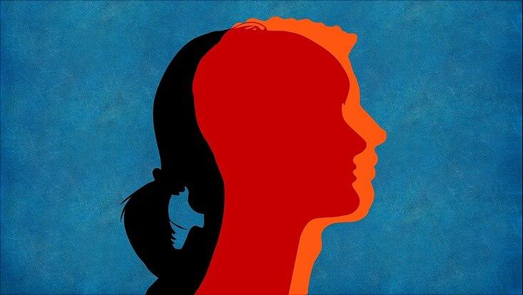 Imagezeichnung: links der Kopf eines Mädchens und rechts der Kopf eines Jungen, die sich in der Mitte des Bildes zu einem Kopf verbinden.