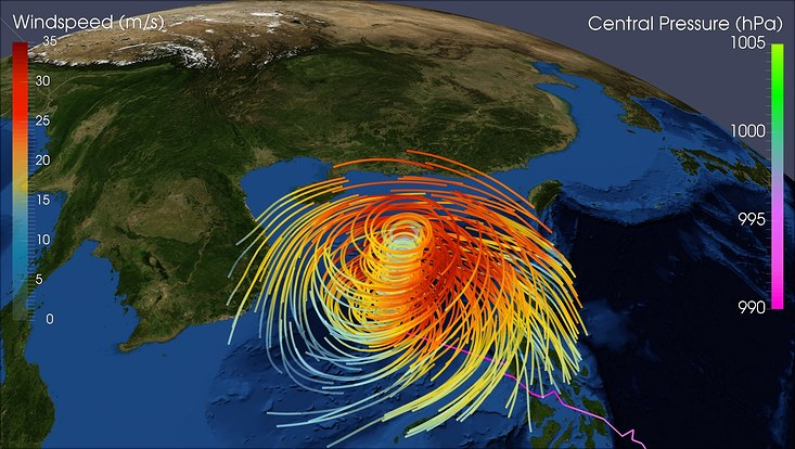 visualization of typhoon hayian