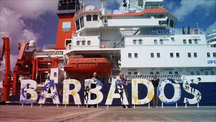 Imke am Meteor-Forschungsschiff auf Barbados