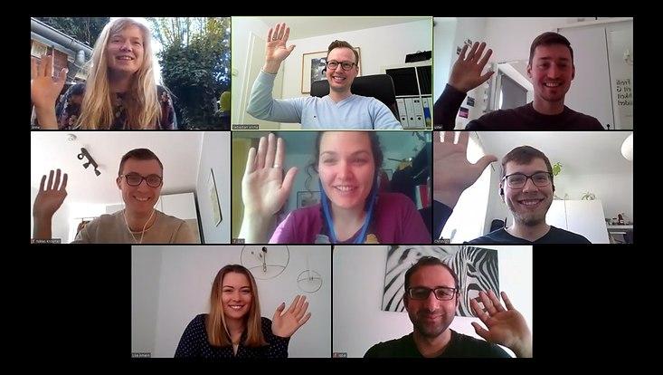 Screenshot der Mitglieder der AG Wicha beim Online-Meeting
