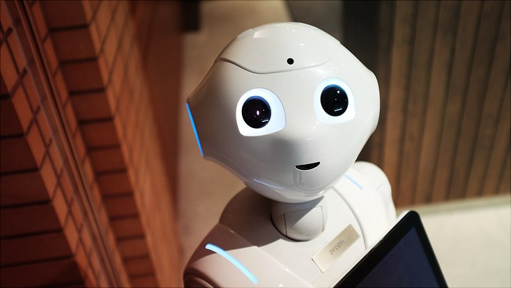 Roboter guckt