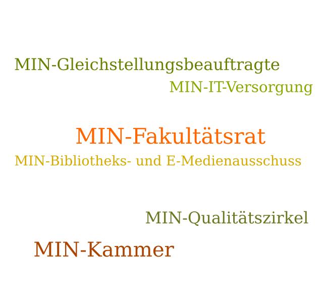 Wortwolke: MIN-Fakultätsrat, MIN-Kammer, MIN-Qualitätszirkel, MIN-Gleichstellungsbeauftragte, MIN-IT-Versorgung, MIN-Bibliotheks- und E-Medienausschuss