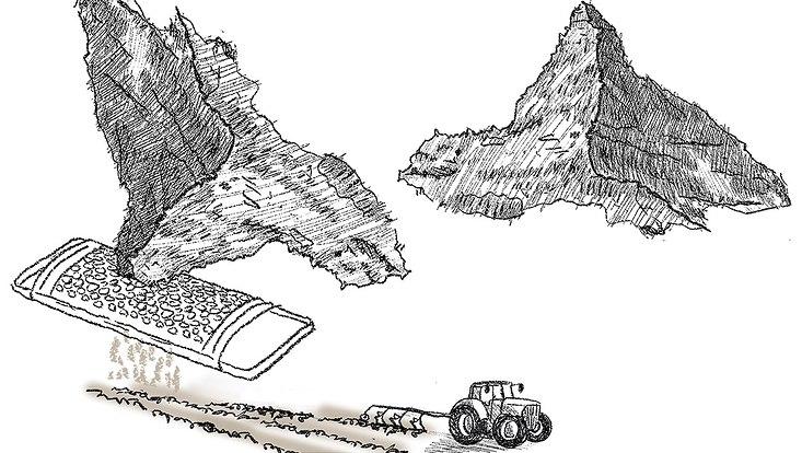 Zeichnung, Berg, Gestein wird mit Reibe zu Boden zerrieben