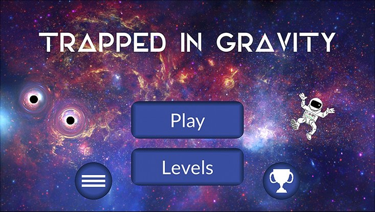 Start screen of the game app Trapped in Gravity