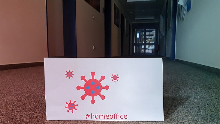 empty corridor with home office sign