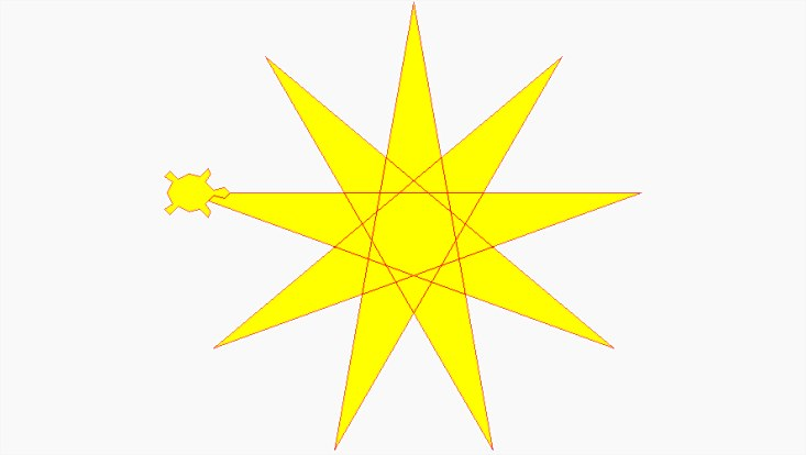 A yellow star with a small yellow turtle on one of the tips
