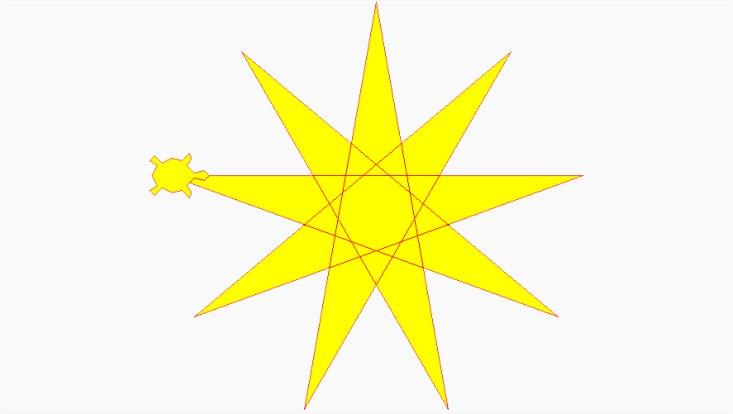 Gelber Stern mit einer kleinen Schildkröte an einer Spitze